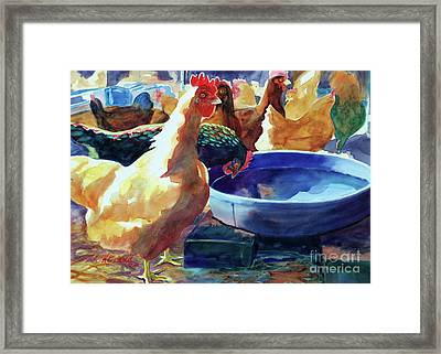 The Henhouse Watering Hole Framed Print by Kathy Braud