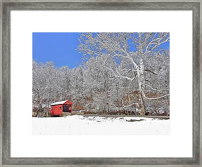 Framed Print featuring the photograph The Henry Bridge After A Late Winter Snow by Digital Photographic Arts