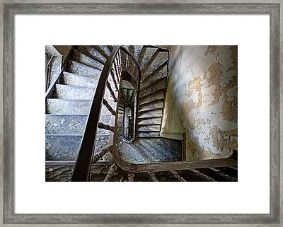 the highest floor looking down - Urbex Framed Print by Dirk Ercken