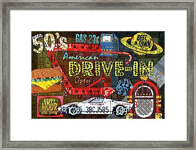 The Highway Never Closes License Plate Art Collage Framed Print