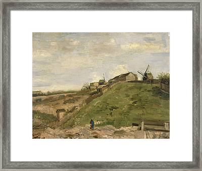 The Hill Of Montmartre With Stone Quarry Framed Print by Vincent van Gogh