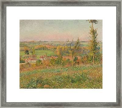 The Hills Of Thierceville Seen From The Country Lane Framed Print
