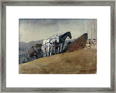 The Hilltop Barn. Houghton Farm Framed Print by Winslow Homer