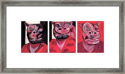 The Hippo Triptych Framed Print by Bizarre Bunny