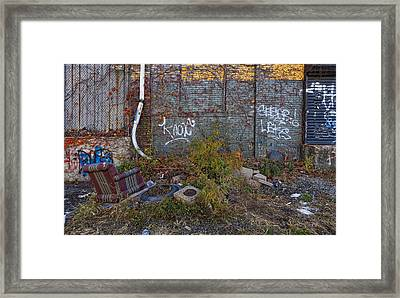 The Hipsters Patio Wiiliamsburg Brooklyn Framed Print by Robert Ullmann