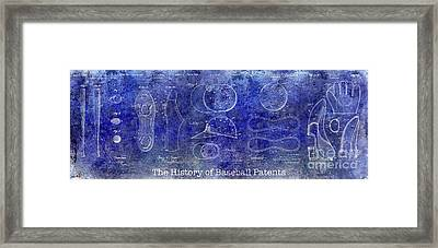 The History Of Baseball Patents Blue Framed Print