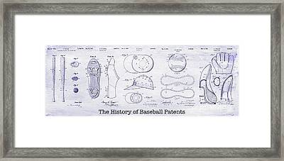 The History Of Baseball Patents Blueprint Framed Print