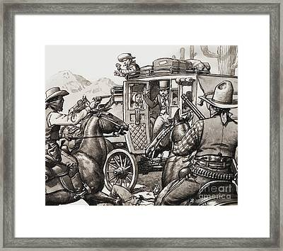 The Hold Up Of The First Stage Coach To Pass Through Palm Springs Framed Print by Pat Nicolle