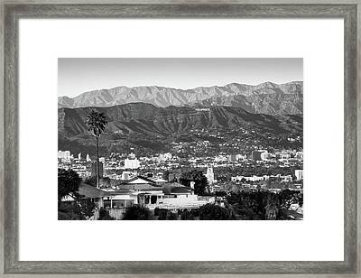 Framed Print featuring the photograph The Hollywood Hills Urban Landscape - Los Angeles California Bw by Gregory Ballos