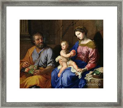 The Holy Family Framed Print by Jacques Stella