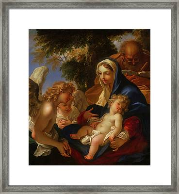 Framed Print featuring the painting The Holy Family With Angels by Seastiano Ricci