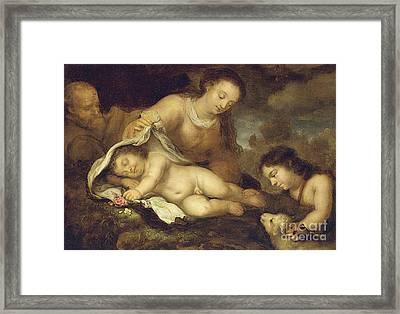 The Holy Family With Infant Saint John The Baptist Framed Print