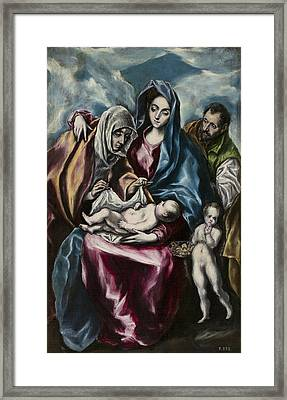 The Holy Family With Saint Anne And Saint John Framed Print by El Greco