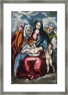 The Holy Family With Saint Anne And The Infant John The Baptist Framed Print by El Greco