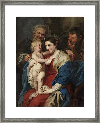 The Holy Family With Saint Anne Framed Print by Peter Paul Rubens