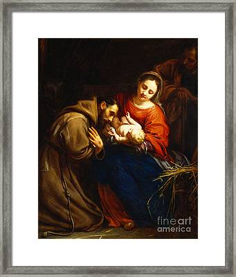 The Holy Family With Saint Francis Framed Print by Jacob van Oost