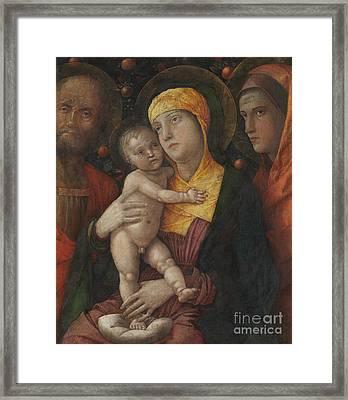 The Holy Family With Saint Mary Magdalene Framed Print by Andrea Mantegna