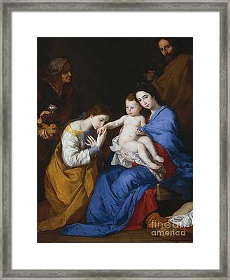 The Holy Family With Saints Anne And Catherine Of Alexandria, 1648  Framed Print