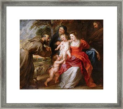 The Holy Family With Saints Francis, Anne And John The Baptist Framed Print by Peter Paul Rubens