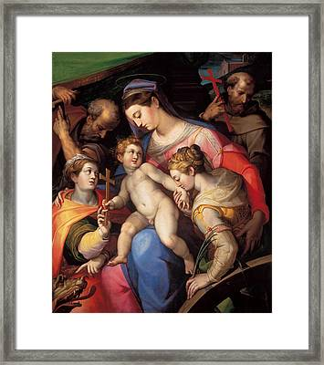The Holy Family With St Catherine Of Alexandria, St Margaret Of Antioch And St Francis Of Assisi  Framed Print by Orazio Samacchini