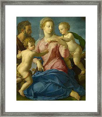 The Holy Family With The Infant Saint John The Baptist, Madonna Stroganoff  Framed Print by Bronzino