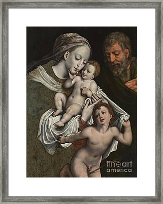 The Holy Family With The Infant St John Framed Print by Cornelis van Cleve