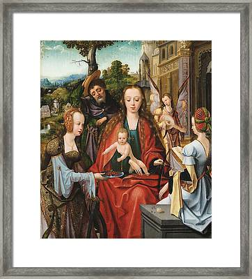 The Holy Family With Two Saints Framed Print