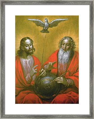 The Holy Spirit With A Model Of Ptolemy's World Framed Print by Hermann Han