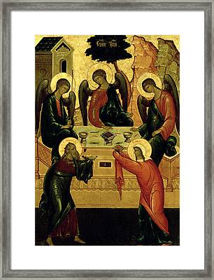 The Holy Trinity Framed Print by Novgorod School