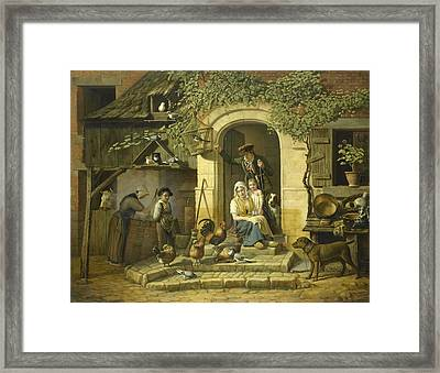 The Home Of A Hunter, 1826 Framed Print by Henri Voordecker