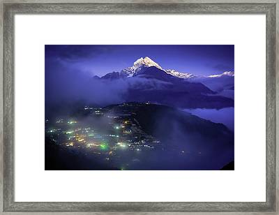 The Home Of Mountain Spirits - Purple Framed Print