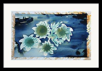 Blue Flowers Ink Dreamy Dream Blossom Framed Prints