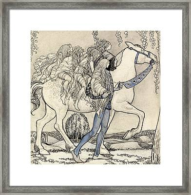 The Horse He Led At The Bit Framed Print by John Bauer