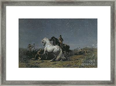 The Horse Thieves Framed Print by Ferdinand Victor Eugene Delacroix