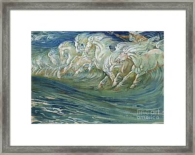 The Horses Of Neptune Framed Print by Walter Crane