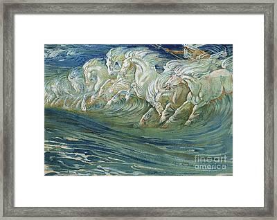 The Horses Of Neptune Framed Print by Walter Crane