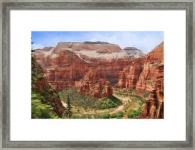 The Horseshoe Bend At Zion Framed Print by Lori Deiter