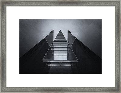 The Hotel Experimental Futuristic Architecture Photo Art In Modern Black And White Framed Print by Philipp Rietz