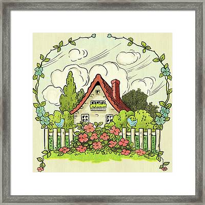 The House At The End Of Storybook Lane Framed Print by Little Bunny Sunshine