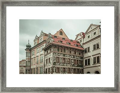 The House At The Minute With Graffiti At Old Town Square  Framed Print by Jenny Rainbow
