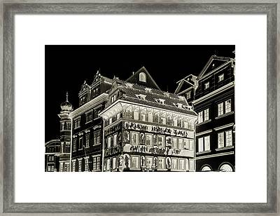 The House At The Minute With Graffiti. Black Framed Print by Jenny Rainbow