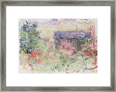 The House Through The Roses Framed Print by Claude Monet