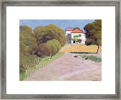 The House With The Red Roof Framed Print