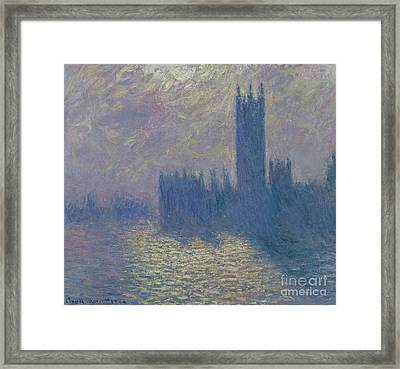 The Houses Of Parliament Stormy Sky Framed Print by Claude Monet