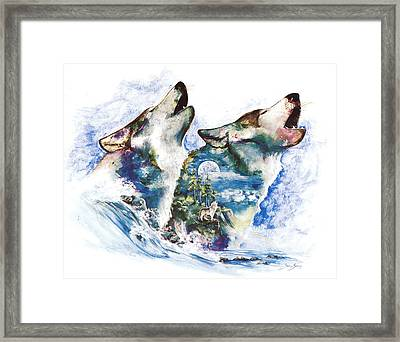 Framed Print featuring the painting The Howl by Sherry Shipley