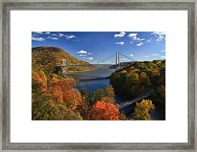 The Hudson River Valley In Autumn Framed Print by June Marie Sobrito