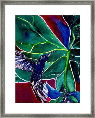 The Hummingbird And The Trillium Framed Print