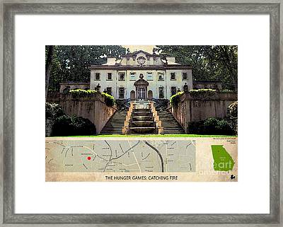 The Hunger Games Catching Fire Movie Location And Map Framed Print by Pablo Franchi