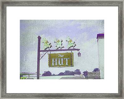 The Hut Bbq Restaurant Sign Framed Print by Jerry Grissom