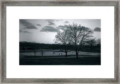 The Ice Skaters...kirby Park Pond Kingston Pa. Framed Print by Arthur Miller